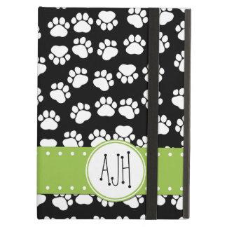 Monogram - Dog Paws, Trails - White Black Green Case For iPad Air