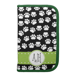 Monogram - Dog Paws, Trails - White Black Green Planners