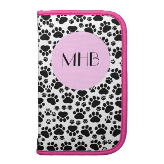 Monogram - Dog Paws, Trails - White Black Pink Planners
