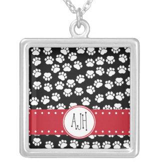 Monogram - Dog Paws, Trails - White Black Red Square Pendant Necklace