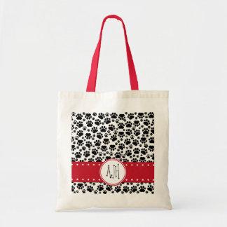 Monogram - Dog Paws, Trails - White Black Red Tote Bag