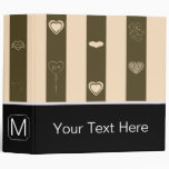 Monogram Donkey Brown Stripes Modern Heart Pattern Binder