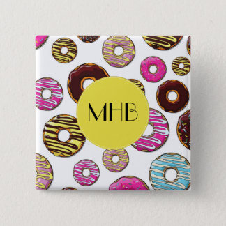 Monogram - Donut Pattern, Colorful Donuts Button