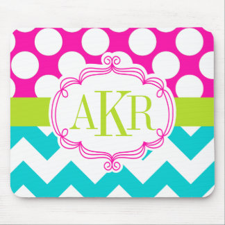 Monogram Dots and Chevron Personalized Mouse Pad