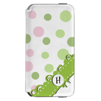 Monogram - Dots (Dotted Pattern) - Pink Green iPhone 6/6s Wallet Case