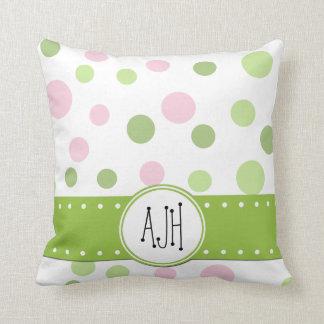 Monogram - Dots, Dotted Pattern - Pink Green Throw Pillow