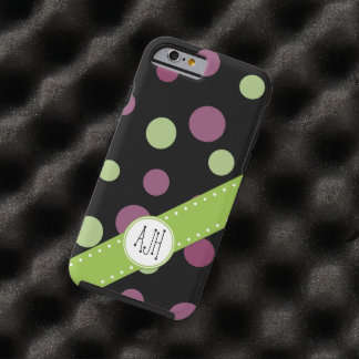 Monogram - Dots (Dotted Pattern) - Purple Green Tough iPhone 6 Case
