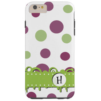 Monogram - Dots (Dotted Pattern) - Purple Green Tough iPhone 6 Plus Case