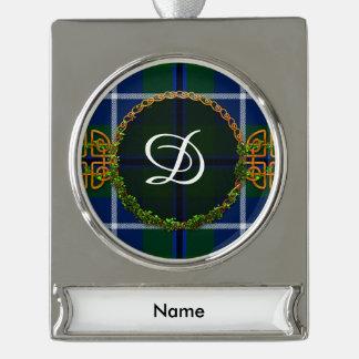 Monogram Douglas Tartan Silver Plated Banner Ornament