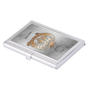 Embossed business card holders cases zazzle monogram dragon embossed 4 business card holder colourmoves