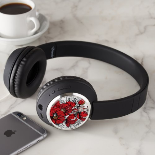 Monogram. Dramatic Red and White Floral Pattern. Headphones