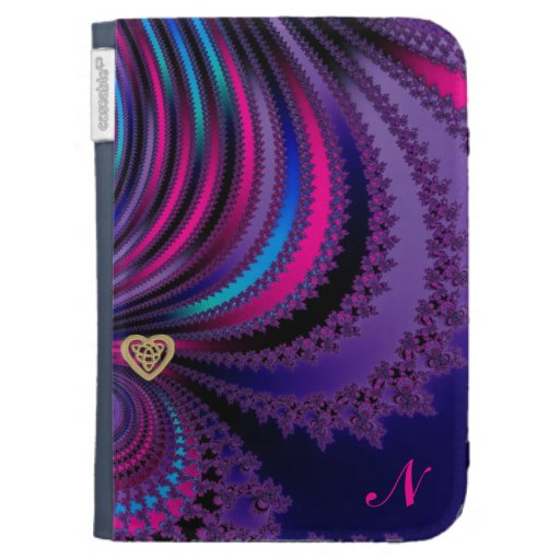 Monogram Draped Fractal With Gold Celtic Heart Kindle 3 Covers