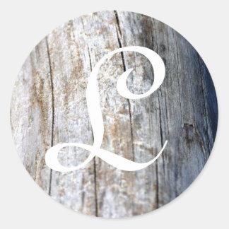 Monogram Driftwood Classic Round Sticker