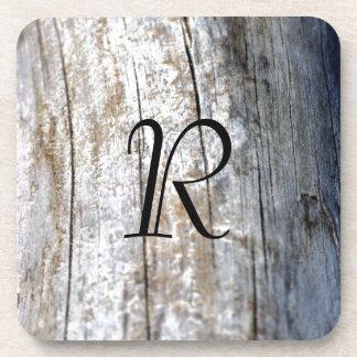 Monogram Driftwood Drink Coaster