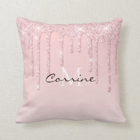 Monogram Dusty Pink Dripping Glitter Metallic Blus Throw Pillow