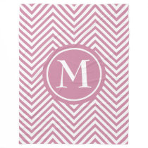 Monogram Dusty Rose & White Zigzag Fleece Blanket