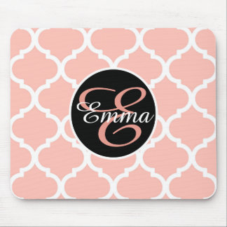 Monogram Dusty Rose with Moroccan Quatrefoil Mouse Pad