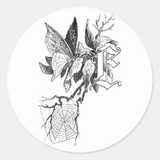 Monogram E, Butterfly and Spiderweb Classic Round Sticker