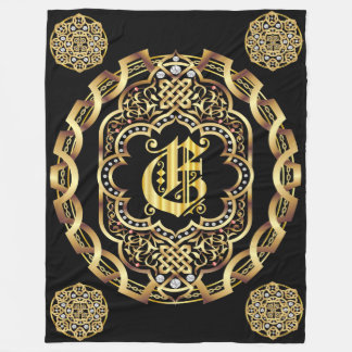 Monogram E CUSTOMIZE To Change Background Color Fleece Blanket