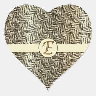 Monogram E Golden Black Beige Scaled Pattern Stick Heart Sticker