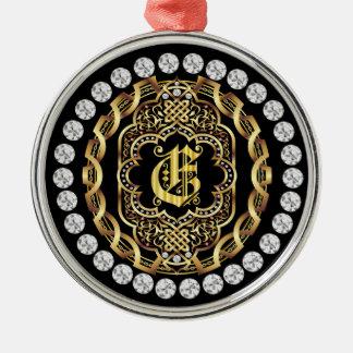 Monogram E IMPORTANT Read About Design Metal Ornament