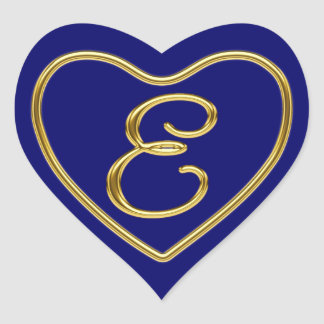 Monogram E in 3D gold Heart Sticker