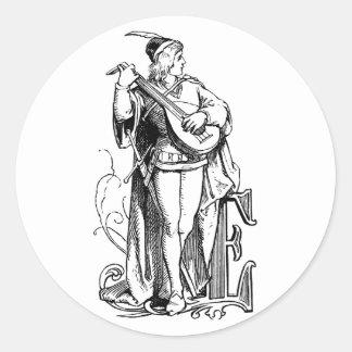 Monogram E Minstrel Playing Lute Classic Round Sticker