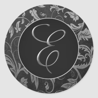 Monogram E Silver and Black Damask Wedding Seal Classic Round Sticker