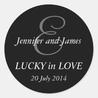 Monogram E Stickers for Weddings Black