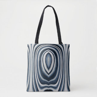 Monogram, Earth Toned Blue Abstract Pattern Tote Bag