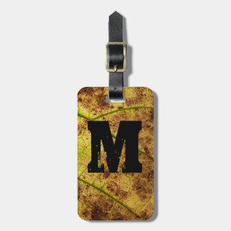 Monogram Earthy Yellow and Brown Leaf Macro Image Bag Tags