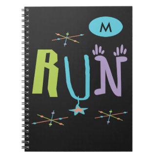 Monogram Eclectic RUN  - Runner Gift Spiral Notebook