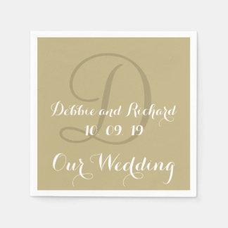 Monogram Ecru Bold Colored Wedding Paper Napkins