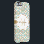 "Monogram Eggshell Blue and Gold Quatrefoil Barely There iPhone 6 Case<br><div class=""desc"">Add your monogram and name to the bracket shaped label printed ribbon look design on the robin&#39;s egg blue and gold quatrefoil pattern. This exotic and elegant Moroccan style inspired pattern in eggshell blue, white and gold is perfect for the woman with a preppy and modern style. Artwork &#169; Chrissy...</div>"