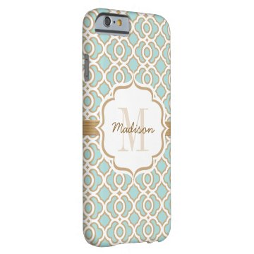 Monogram Eggshell Blue and Gold Quatrefoil Barely There iPhone 6 Case at Zazzle