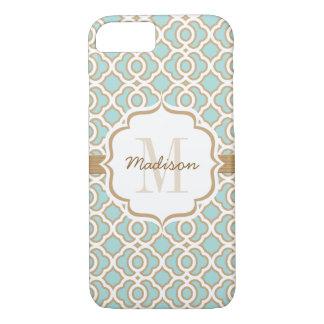 Monogram Eggshell Blue and Gold Quatrefoil iPhone 7 Case