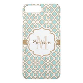 Monogram Eggshell Blue and Gold Quatrefoil iPhone 7 Plus Case