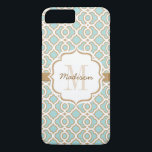 """Monogram Eggshell Blue and Gold Quatrefoil iPhone 8 Plus/7 Plus Case<br><div class=""""desc"""">Add your monogram and name to the bracket shaped label printed ribbon look design on the robin&amp;#39;s egg blue and gold quatrefoil pattern. This exotic and elegant Moroccan style inspired pattern in eggshell blue, white and gold is perfect for the woman with a preppy and modern style. Artwork &#169; Chrissy...</div>"""
