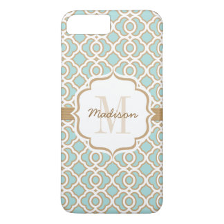 Monogram Eggshell Blue and Gold Quatrefoil iPhone 8 Plus/7 Plus Case