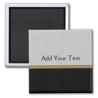 Monogram Elegance in Black Grey Gold 2 Inch Square Magnet