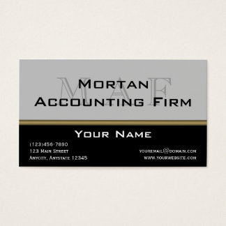 Monogram Elegance in Black Grey Gold Business Card