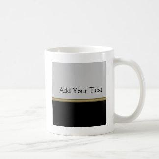 Monogram Elegance in Black Grey Gold Coffee Mug