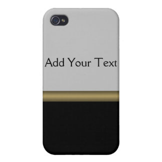 Monogram Elegance in Black Grey Gold iPhone 4 Cases