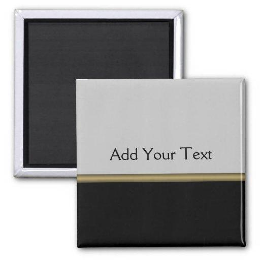Monogram Elegance in Black Grey Gold Refrigerator Magnet