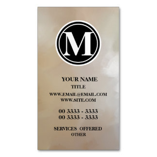 Monogram Elegant and Abstract Background Magnetic Business Cards (Pack Of 25)