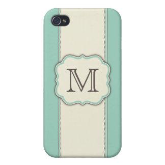 Monogram Elegant Art Deco Letter Green Beige iPhone 4/4S Covers