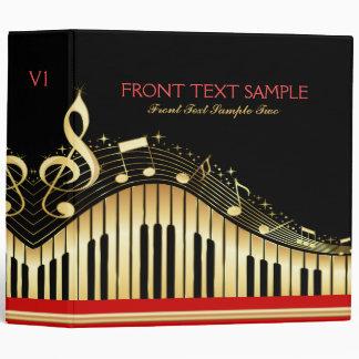 Monogram Elegant Black And Gold Music Notes Design 3 Ring Binder