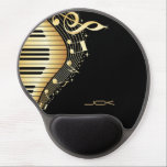 "Monogram Elegant Black And Gold Music Notes Design Gel Mouse Pad<br><div class=""desc"">Cool modern design,  abstract music theme design in black and gold tones. Custom monogram</div>"