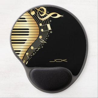 Monogram Elegant Black And Gold Music Notes Design Gel Mouse Pad