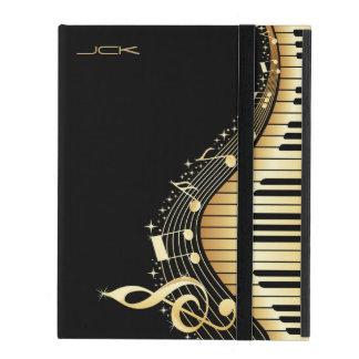 Monogram Elegant Black And Gold Music Notes Design iPad Folio Case